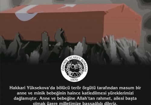Hakkari Yüksekova'da bölücü terör örgütü tarafından masum bir anne ve minik bebeğinin haince katledilmesi yüreklerimizi dağlamıştır. Anne ve bebeğine Allah'tan…